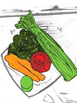 drawn fruit and veg